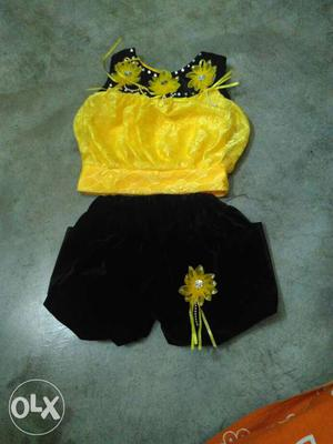Beautiful bright yellow colour Baby girl top pant