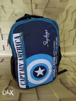 Black And Blue Captain America Backpack
