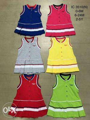 Toddler Girl's Six Assorted Color V Neck Sleeveless Dresses