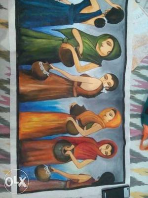 Five Girl In Assorted Color Dresses Printed Tarp