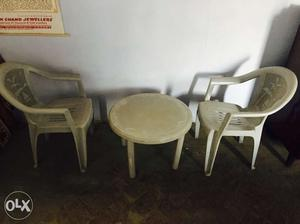 White Monobloc 2 Chairs And Round Plastic Table