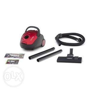 Disassembled Red And Black Canister Vacuum Cleaner