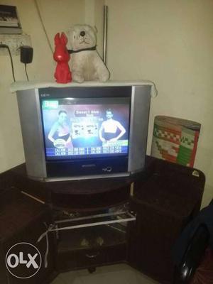 Grey CRT TV Sansui color TV with best condition