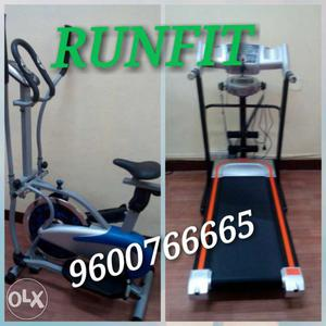 Black And Silver Treadmill And Silver And Blue Elliptical