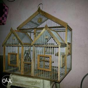 Brown Wooden Framed Stainless Steel Birdcage