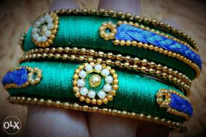 Blue and green colour thread bangles, size 2'6
