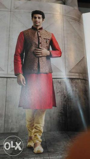 Brand new Manyavar Kurta payjama set with jacket