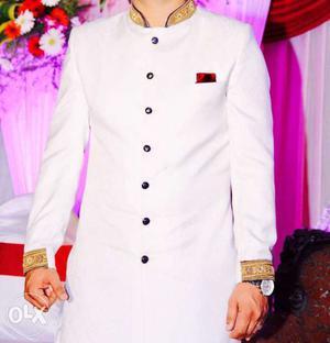 Men's White And Gold Sherwani