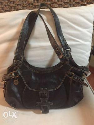 Pure leather black mulberry shoulder bag
