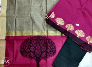 Salwar material chanderi silk top and shawl