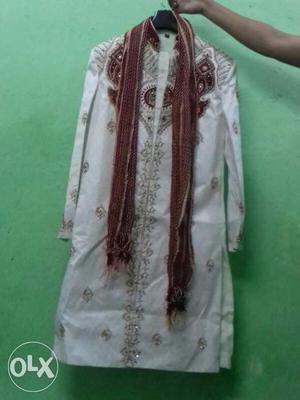 White And Red Sherwani With Scarf