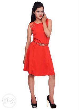 Women´s Red Scoop Neck Sleeveless Dress