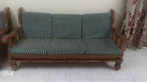 Brown Wooden Framed Blue Cushioned Couch With Two Chairs