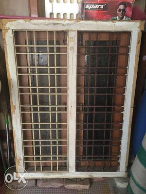 Double door window teak wood and teak wood frame with door