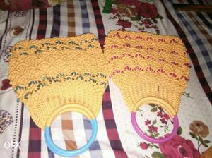 Baby's Two Yellow And Blue, Yellow And Pink Knitted bag