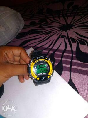Black And Yellow Digital Watch With Black Strap