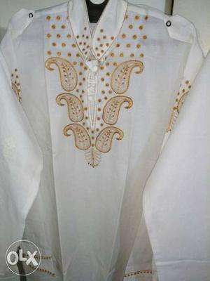 New kurta,s lucknow chikan hand work White And Brown Paisley