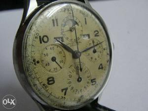 Steel Winding Universal Tricompax Day Date Month Wrist Watch