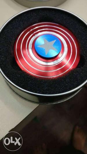 Captain America Fidget Hand Spinner In Gray Case