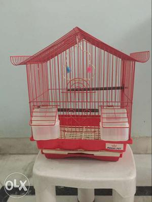 Red Steel Birdcage