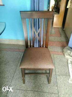 Brown And White Padded Brown Wooden Chair
