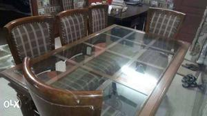 Pure sangwan wood 6 seater dining set with glass