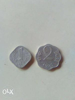 1 And 2 Indian Paise Silver Coins