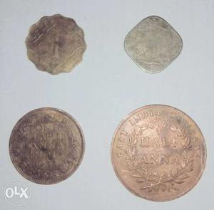 East India Company coins. One Quarter Anna