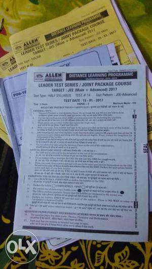 Jee Mains and Advance  allen test series with