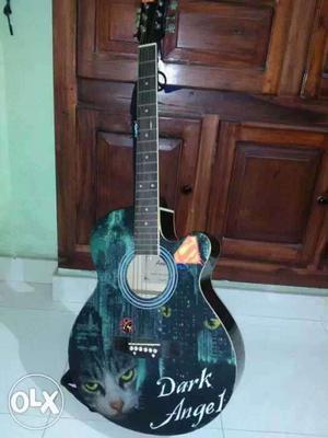 Black And Teal Cutaway Acoustic Guitar