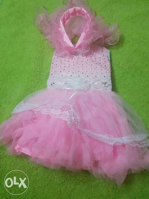 Children's Pink And White Mesh Sleeveless Tutu Dress With