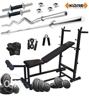 Home Gym with 6-in-1 Multipurpose Bench with 60kg rubber