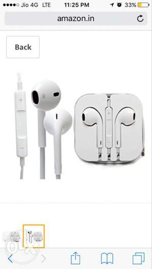 Apple original earphones with plastic case