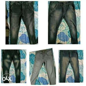 Five Pairs Of Black blue Stone Washed Denim Jeans