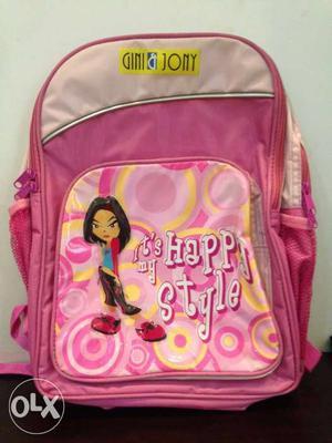 Gini & Jony brand new school bag for girls(unused). Price