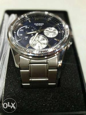 Round Blue Casio Chronograph Watch With Silver Link Band