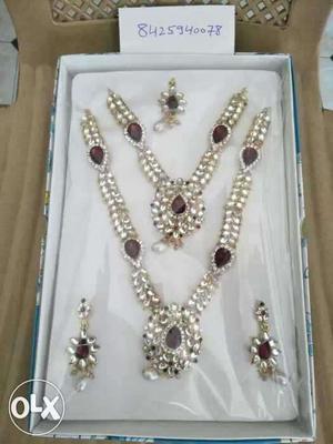Silver-diamond-amber Jewelry Set In Box