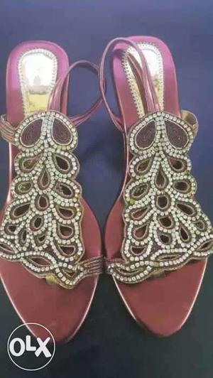 Stone Studded Maroon Sandals
