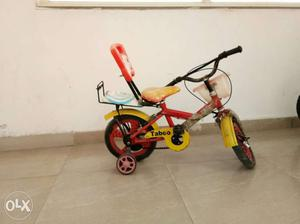 Toddler's Red And Yellow Bicycle With Training Wheel