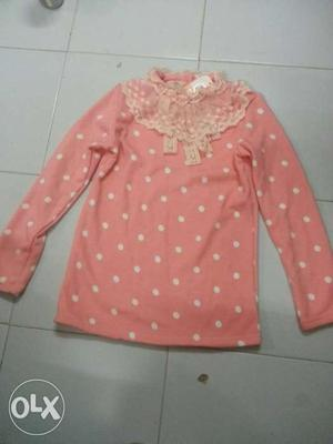 Very new peach Polka dot top for girls size extra