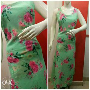 Women's Green And Pink Floral Sleeveless Maxi Dress