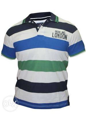 Black, White, Blue, And Green Pepe JNS London Stripe Polo