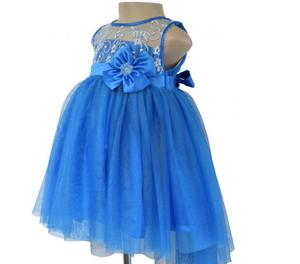 Blue Embroidered Dress For Girls party At Faye Store