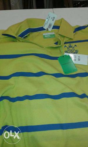 Green And Blue Horizontal Stripe Polo Shirt