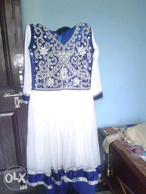 Navy blue and white frock suit party wear