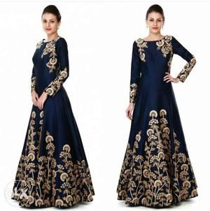 Navy blue gown adorn in zari and sequin in floral