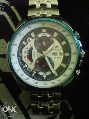 Round Casio Edifice Chronograph Watch With Silver Link Band