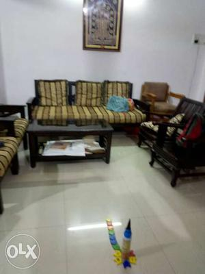 5-piece Of Brown And Green Sofa Set