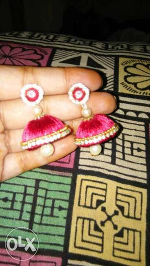 Pair Of Red Silk Thread Jhumka Earrings