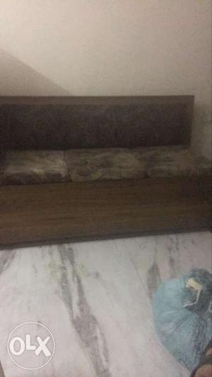 Brown Wooden Cushioned Sofa